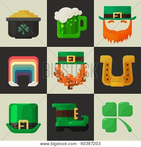 Set of shiny flat Irish St. Patricks Day icons