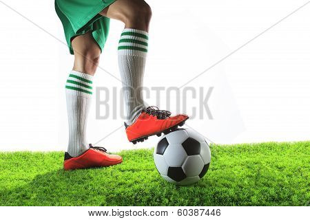 Legs Of Football Player ,soccer Player And Soccer Ball Isolated White Background With Copy Space Use