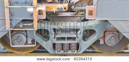 Railway Wheels And spring dampers Close-up