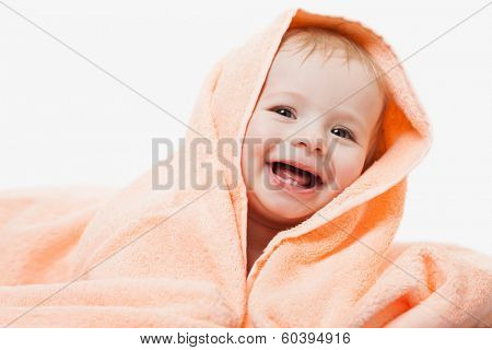 Little cute newborn baby child first milk or temporary teeth smiling face white isolated