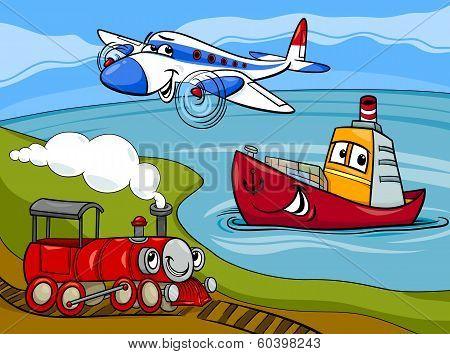 Plane Ship Train Cartoon Illustration