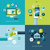Icons for online payment gataway, mobile payments, electronic funds transfers and bank wire transfer. poster