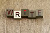 Love to Write, sign for creative writing, writers and education, with heart symbol. poster