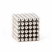 Silver magnetic metal balls in cube shape poster
