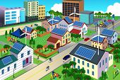 A vector illustration of city scene where the residents are very conscious about their environment and going green concept poster