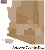 The map of the state of Arizone with all counties and cities. poster