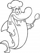 Black And White Chef Shark Cartoon Character With Big Spoon  Illustration Isolated on white poster