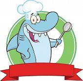 Chef Shark With Big Spoon Label  Illustration Isolated on white poster