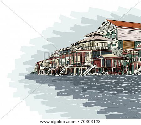 Editable vector illustration sketch of wooden waterside buildings