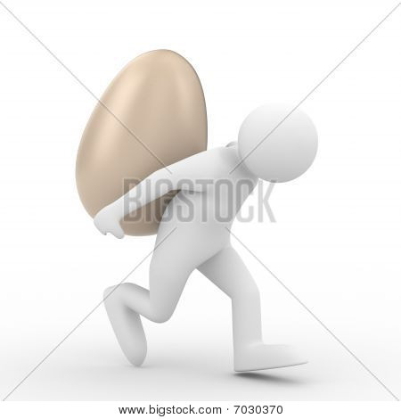 Men Carry  Egg On Back. Isolated 3D Image