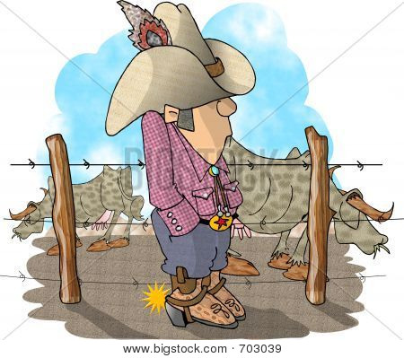 This illustration depicts a cowboy standing by a fenced cattle yard. poster