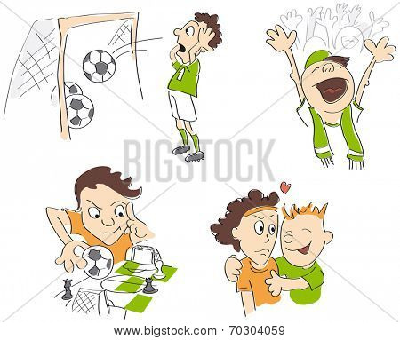 Football - soccer funny caricatures - fair-play, strategy, fans, loss. Vector illustration