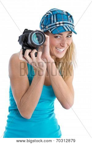 Professional Female Stock Photographer Isolated On White Holding Her Camera.