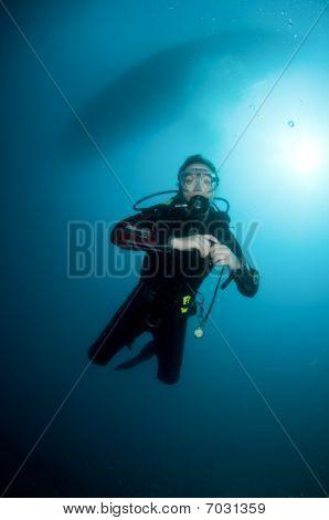 woman scuba diver