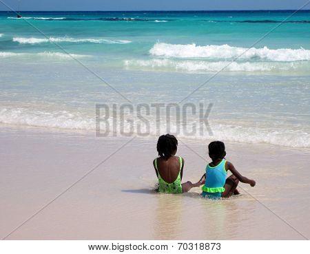 Two Girls on the Beach in Bridgetown, Barbados