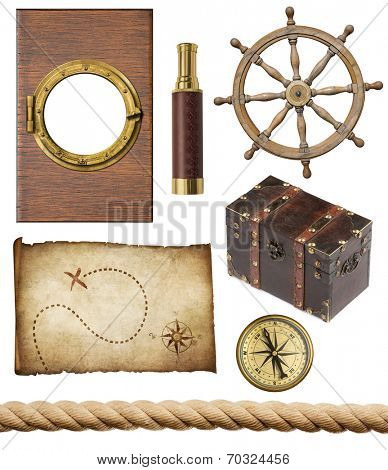 nautical objects set isolated: ship window or porthole, old treasure map, spyglass, brass compass, pirates chest, rope and steering wheel