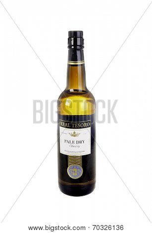 West Point - August 17, 2014: Bottle or Real Tesoro Pale Dry Sherry imported from Spain