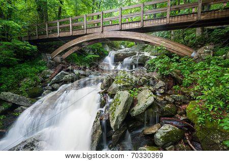 Wooden Bridge over Blue Ridge Mountain Stream