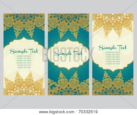 greeting cards  in east style on blue background