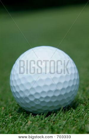 Close-up of golf-ball on green. Shallow depth of field. poster
