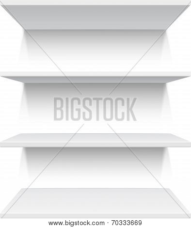 Four white realistic shelves isolated on white background. Vector illustration poster