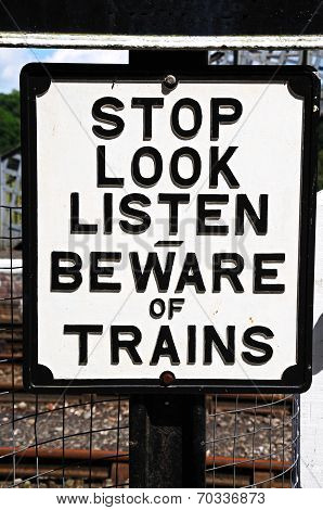 Retro Beware of Trains sign.