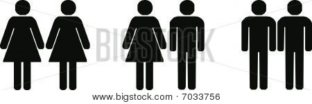 Different Couples silhouettes