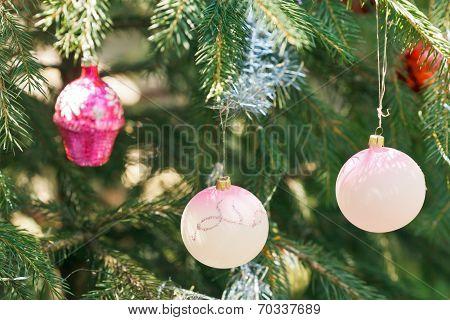 Pink Balls And House Christmas Decoration