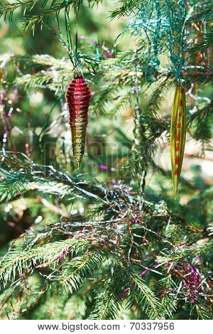 Several Glass Icicles Christmas Decoration