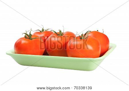 Packing tomatoes isolated on white