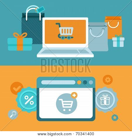 Vector Internet Shopping Concept In Flat Style