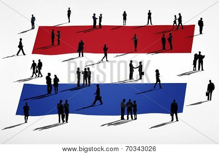 Netherlands flag and a group of business people.