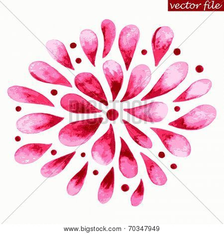 Pink and Red Watercolor Vector Sunburst Flower