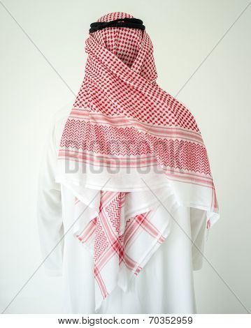 Arabic young businessman posing from back