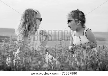 Two Funny Little Girls Play