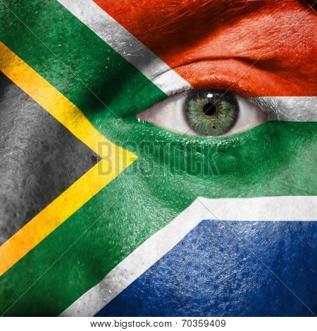 Flag Painted On Face With Green Eye To Show South Africa Support In Sport Matches