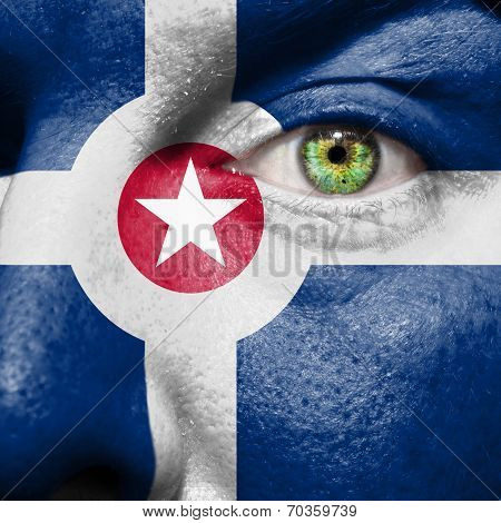 Flag Painted On Face With Green Eye To Show Indianapolis Support