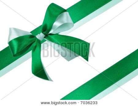 Festive Bow made of Green Green Ribbons Isolated
