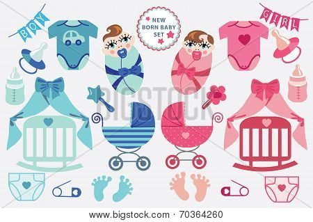 A set of cute cartoon cliparts for newborn baby  boy and girl.Baby cartoon icons, clipart, scrapbooking elements. Twins set.Vector illustration poster