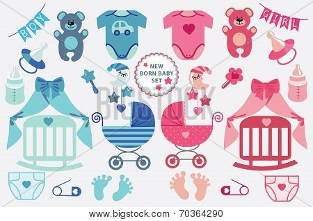 Cute newborn baby clipart