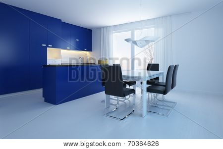 Modern open-plan kitchenette diner with blue cabinets and a bar counter with a small contemporary dining suite in a cool spacious room