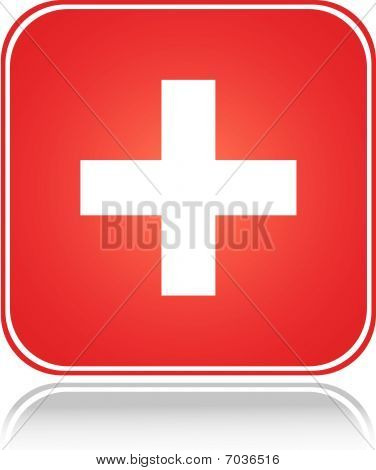 Red square sign swiss cross