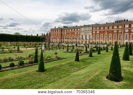 The Privy Garden and Hampton Court Palace near London, UK