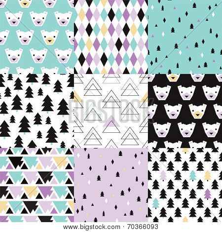 Seamless polar bears and christmas trees geometric abstracts pastel wrapping paper collection happy holidays background pattern in vector