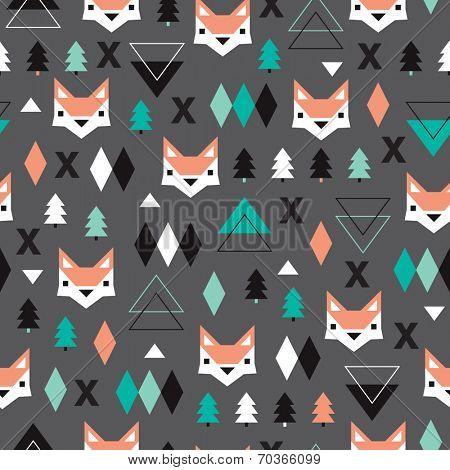 Seamless christmas fox geometric illustration modern trend background pattern in vector