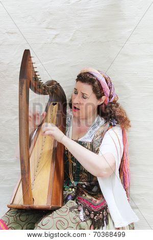 MUSKOGEE, OK - MAY 24: Woman dressed in vintage clothes plays harp at the Oklahoma 19th annual Renaissance Festival on May 24, 2014 at the Castle of Muskogee in Muskogee, OK