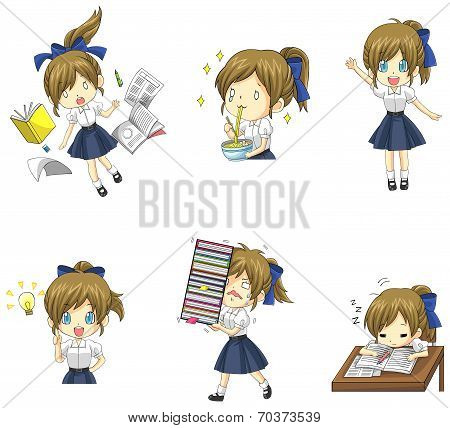 Cute Thai Schoolgirl Student In Various Activities And Emotion Icon Set 1 (vector)