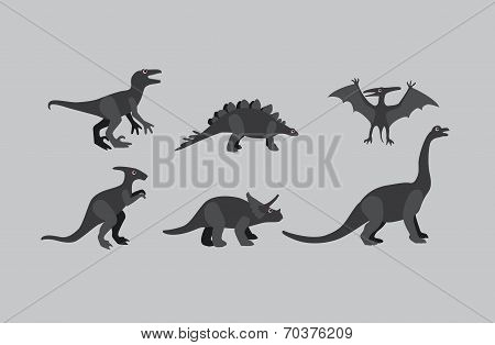 Vector Collection Of  Greyscale Dinosaurs