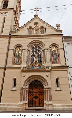 Church of Saints Cyril and Methodius (circa 1880) in Cirilometodska street of historic Upper Town in Zagreb Croatia. Architect Hermann Bolle poster