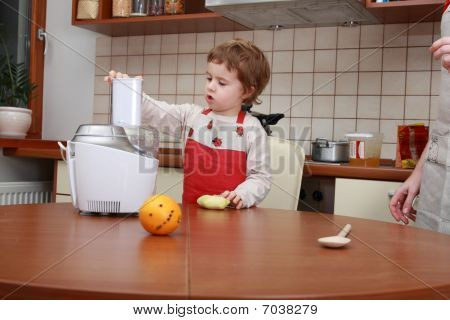 Boy With Food Processor